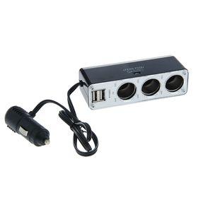 Разветвитель прикуривателя TORSO на 3 выхода, 2 USB 1А, 12/24 В, провод 65 см