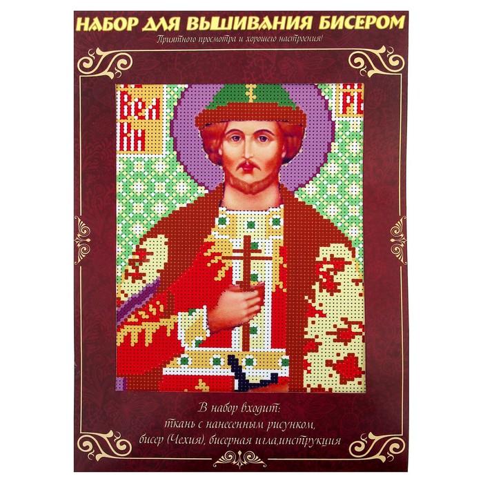 Вышивка бисером «Святой Великий Князь Игорь», размер основы: 21,5×29 см