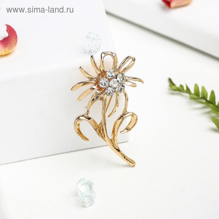 """Брошь """"Цветок одуванчика"""", цвет белый в золоте"""
