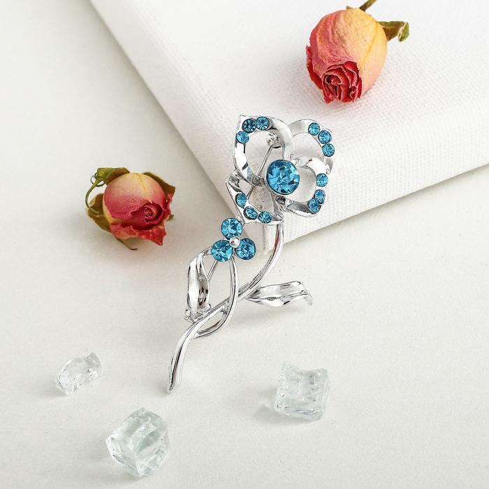 """Брошь """"Цветок нежный"""", цвет сине-голубой в серебре - фото 444879086"""