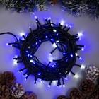"""Гирлянда """"Нить"""" уличная, УМС, 10 м, 2W LED-100-24В, мерцание, нить тёмная, свечение синее"""