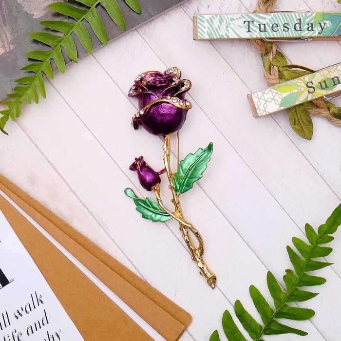 """Брошь """"Цветы розы"""", бутоны, цвет фиолетово-зеленый в золоте"""