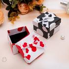 """Коробочка подарочная под кольцо """"Сердечки с бантиком"""" 5x5x3,5, цвет МИКС, черная вставка"""