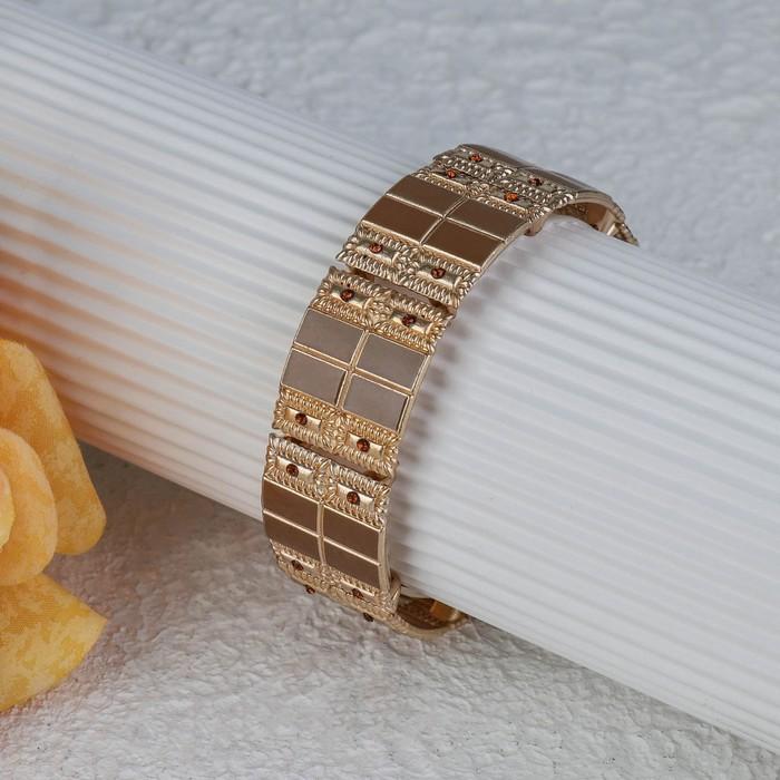 """Браслет с эмалью """"Настроение"""" прямоугольники, цвет коричневый в золоте"""