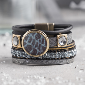 "Bracelet leather ""Luxury"" wide, circle, black grey gold"