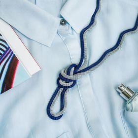 """Бусы 2 нити """"Трансформер"""" (несколько способов носки), цвет сине-серебряный, 118см - фото 7469808"""