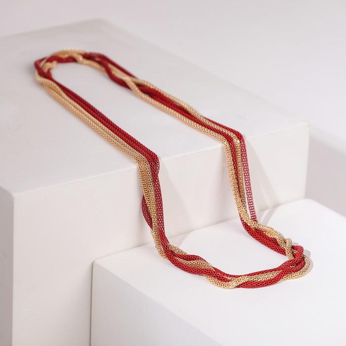 """Бусы 2 нити """"Трансформер"""" (несколько способов носки), цвет красно-золотой, 118 см - фото 7469812"""