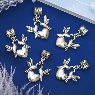 """Подвеска """"Голуби с сердцем"""", цвет серебро"""