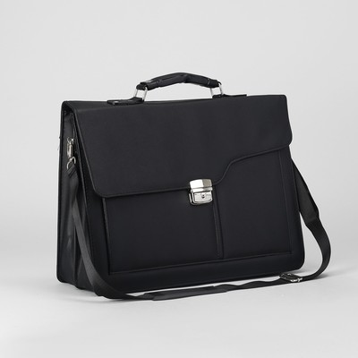 Портфель деловой на клапане, 3 отдела, наружный карман, длинный ремень, цвет чёрный