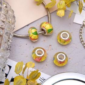 Бусинка 'Птички с цветами', цвет желтый Ош