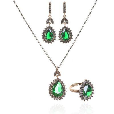 """Гарнитур 3 пр: серьги, кулон, кольцо безразмерное, """"Капля"""" великолепие, цвет зелёно-серый, 45см"""