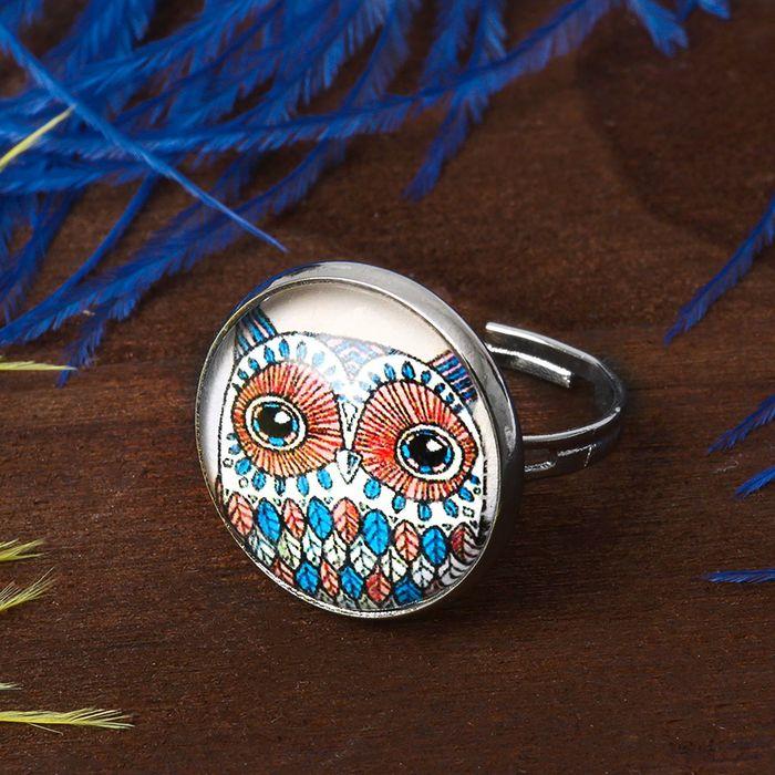 Кольцо Candy сова, цветное, безразмерное