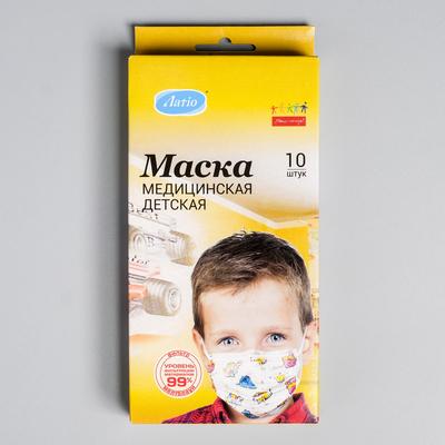 Маска медицинская детская Latio MF с рисунком звери, 10 шт/уп.