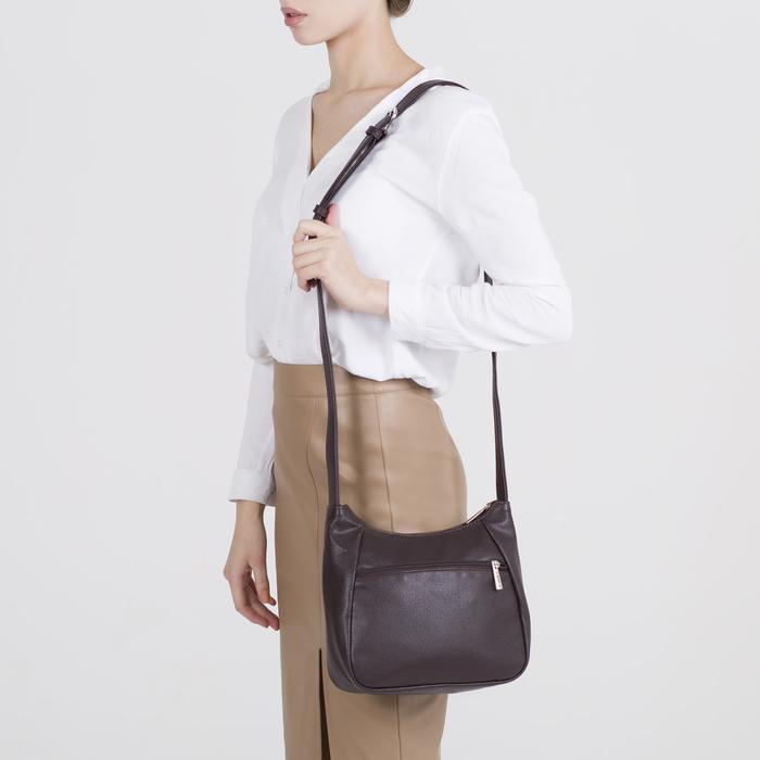 Сумка женская, отдел на молнии, 2 наружных кармана, длинный ремень, цвет коричневый