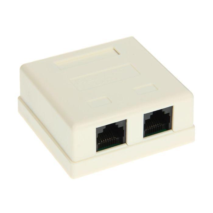 Компьютерная розетка REXANT, 2 RJ-45, CAT5e, 03-0151