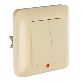 """Выключатель """"Прима"""" SchE S56-039-SI, 6 А, 2 клавиши, скрытый, с подсветкой, цвет сл.кость"""
