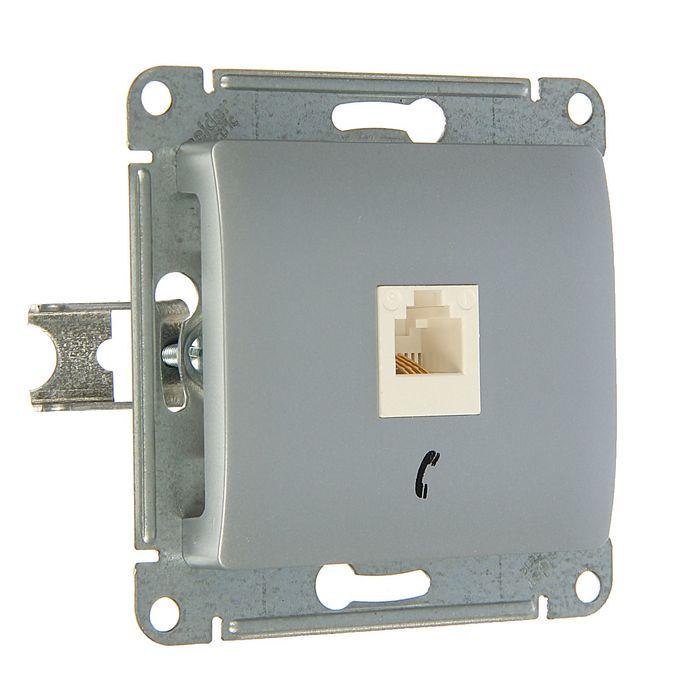 """Розетка телефонная """"Glossa"""" SchE GSL000381T, RJ11, одноместная, скрытая, цвет алюминий"""