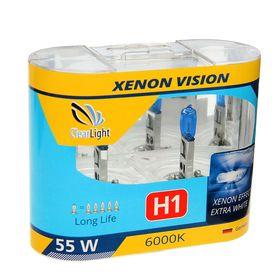 Галогенная лампа Clearlight XenonVision, H1, 12 В, 55 Вт, набор 2 шт Ош