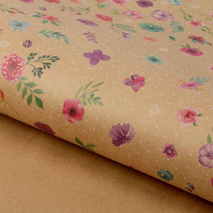 Бумага упаковочная крафтовая «Для тебя», акварельные цветы, 50 × 70 см