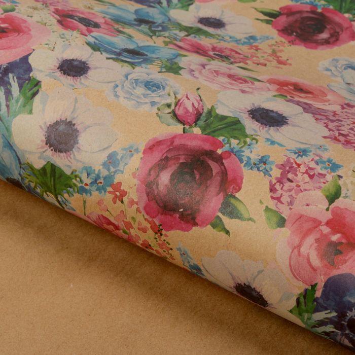 Бумага упаковочная крафтовая «Весенние цветы», 50 × 70 см