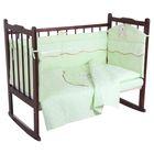 Комплект в кроватку (5 предметов), цвет зелёный 27