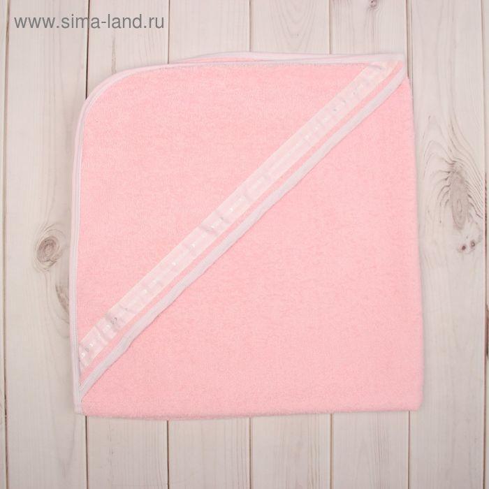 Полотенце-уголок для купания, размер 80х80 см, цвет розовый М.704