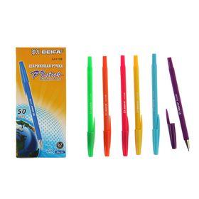 Ручка шариковая антискользящий корпус Beifa АА 110В 'Яркое цветное ассорти', металлический наконечник, стержень синий, узел 0,7 мм, микс Ош