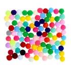 """Набор текстильных деталей для декора """"Бомбошки"""" 100 шт набор, размер 1 шт 1,2 см, цвет МИКС"""