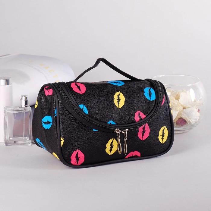 Косметичка сумка «Губки», отдел на молнии, с зеркалом, цвет чёрный