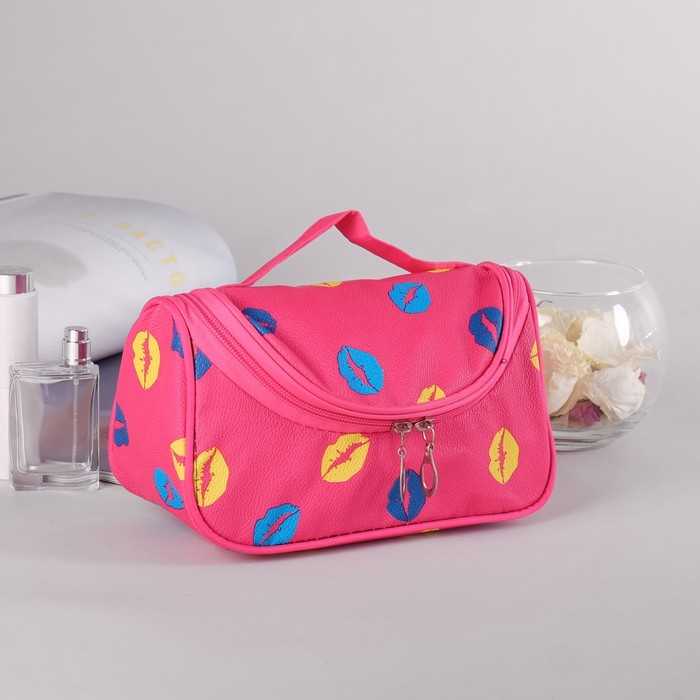 Косметичка сумка «Губки», отдел на молнии, с зеркалом, цвет малиновый