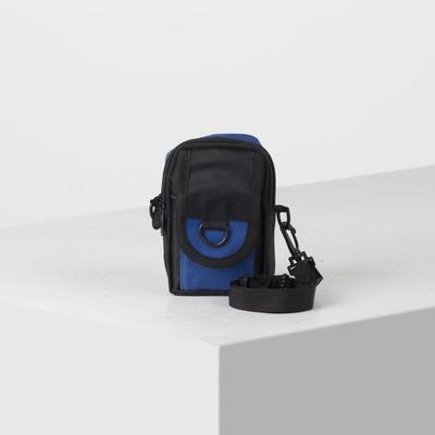 Сумка поясная, 2 отдела, наружный карман, длинный ремень, цвет чёрный/синий