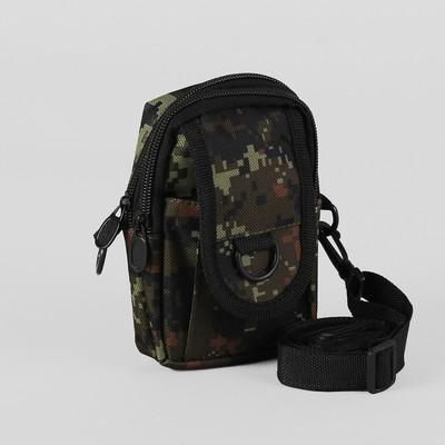 Сумка поясная, 2 отдела, наружный карман, длинный ремень, цвет хаки