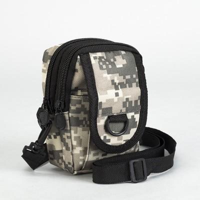 Сумка поясная, 2 отдела, наружный карман, длинный ремень, цвет бежевый 633581bb776