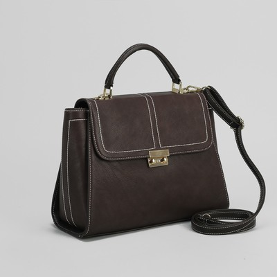 Bag ladies, division with a divider, outside pocket, long strap, color brown