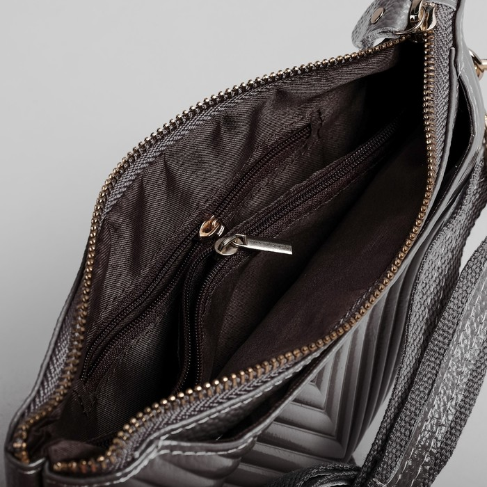Клатч женский, отдел на молнии с перегородкой, с ручкой, 2 наружных кармана, длинный ремень, цвет серый