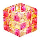 """Подсвечник стекло 1 свеча """"Цветные квадраты"""" 6,5х6,8х6,8 см"""