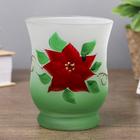 """Glass candle holder """"hand Drawn flower"""" 11х9х9 cm"""