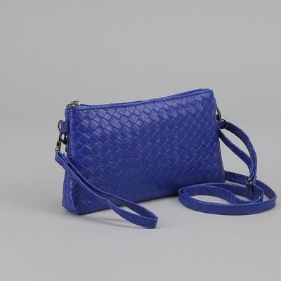 Клатч женский, плетение, отдел с перегородкой на молнии, с ручкой, длинный ремень, цвет синий