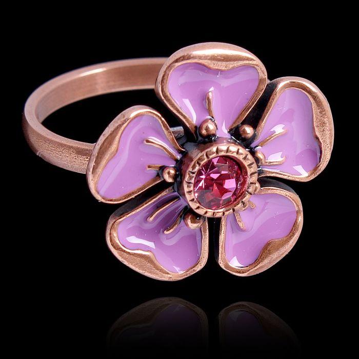 """Кольцо """"Грейси"""", размер 17, цвет розовый в меди"""