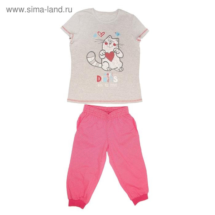 Пижама женская (футболка, бриджи) LP 02-009п цвет красный/серый, принт Коты, р-р 44