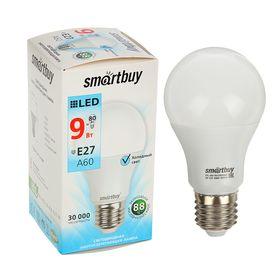 Лампа cветодиодная Smartbuy, A60, E27, 9 Вт, 4000 К, холодный белый
