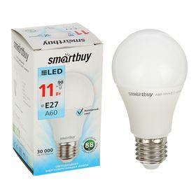 Лампа cветодиодная Smartbuy, A60, E27, 11 Вт, 4000 К, дневной белый свет