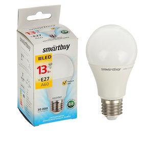 Лампа cветодиодная Smartbuy, A60, E27, 13 Вт, 3000 К, теплый белый