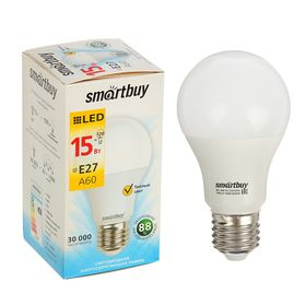 Лампа cветодиодная Smartbuy, A60, E27, 15 Вт, 3000 К, теплый белый