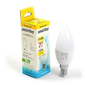 Лампа cветодиодная Smartbuy, C37, E14, 7 Вт, 3000 К, теплый белый