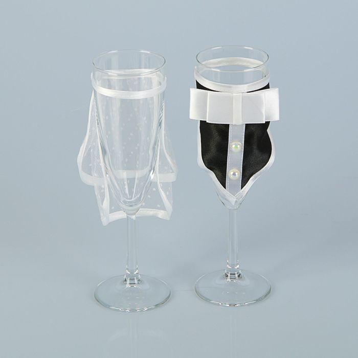 Набор свадебных бокалов «Жених и невеста» с фартуками, 2 шт.