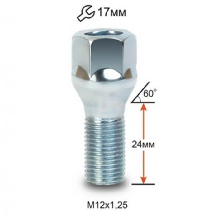Болт М12*1,25*23.5 конус, кл. 17 мм, цинк, 20 шт.