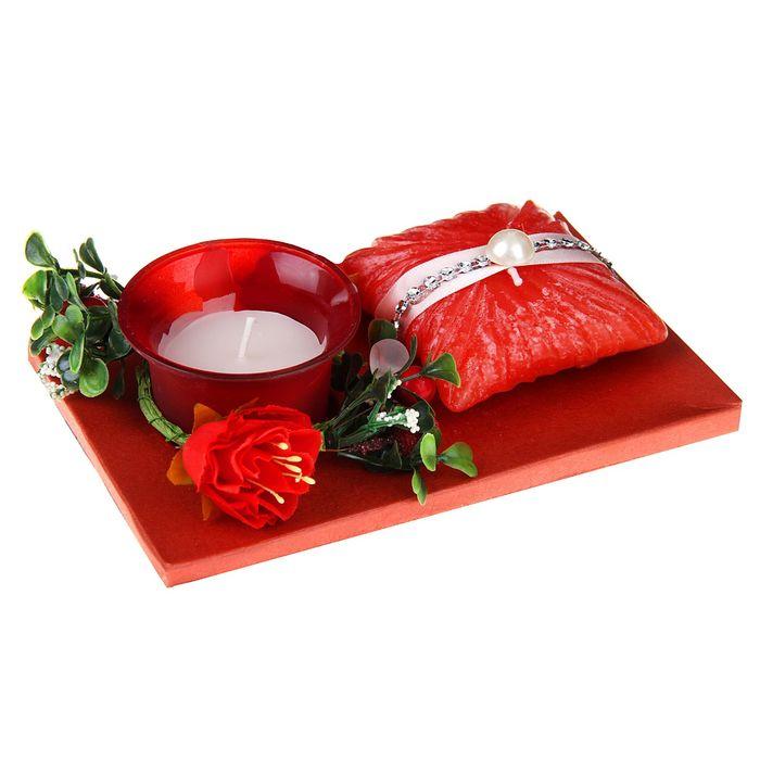 """Свечи восковые (набор 2 шт + декор) """"Очарование"""", цвет красный"""