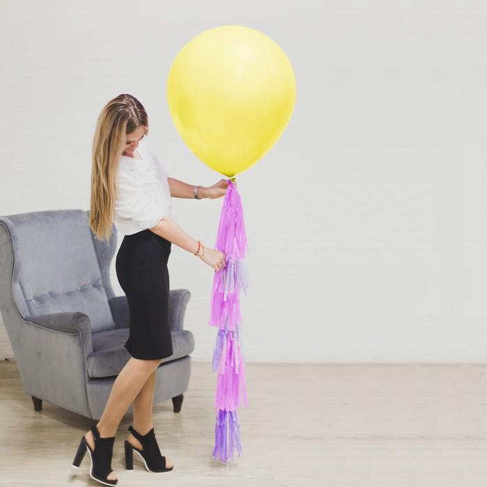 """Воздушный шар, 24"""", с тассел лентой, открытка, жёлтый - фото 308468895"""