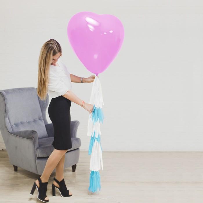 """Воздушный шар """"Сердце"""", 24"""", тассел лента, открытка, розовый - фото 308468905"""